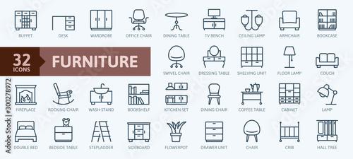 Valokuvatapetti Furniture - minimal thin line web icon set