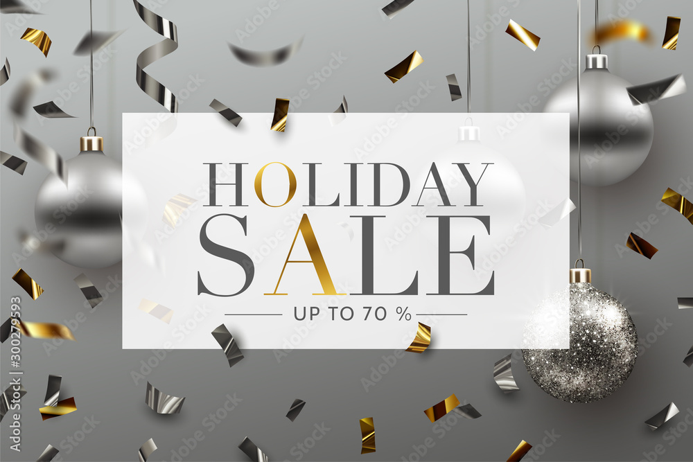 Fototapeta Holiday Sale background, banner, frame, header, or poster design with Confetti and Christmas ornaments. Vector Illustration.