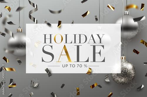 Spoed Fotobehang Wanddecoratie met eigen foto Holiday Sale background, banner, frame, header, or poster design with Confetti and Christmas ornaments. Vector Illustration.