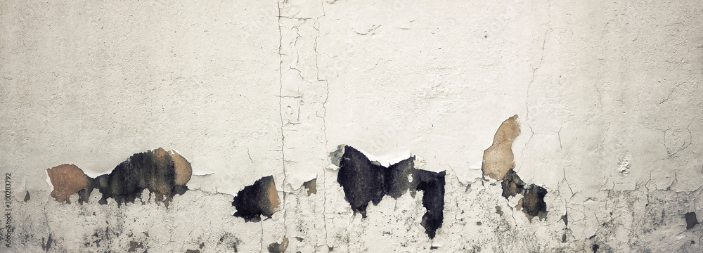 Fototapety, obrazy: Old Wall with Moldy Peeling White Painting from Humidity. Cracked White Wall as Rusty Concrete Weathered Wall Grunge Background or Abstract Backdrop Wallpaper Vintage Texture Design Copy Space Text
