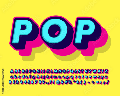Fotografía  cool fancy pop art text effect with simple color design for pop music and arts,