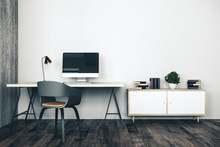 Home Interior With Workplace