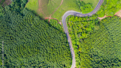 Foto auf AluDibond Pistazie Aerial view of Rural road in countryside area, view from drone