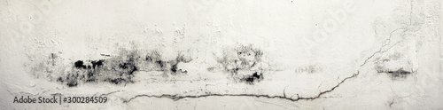 Obraz Old Wall with Moldy Peeling White Painting from Humidity. Cracked White Wall as Rusty Concrete Weathered Wall Grunge Background or Abstract Backdrop Wallpaper Vintage Texture Design Copy Space Text - fototapety do salonu