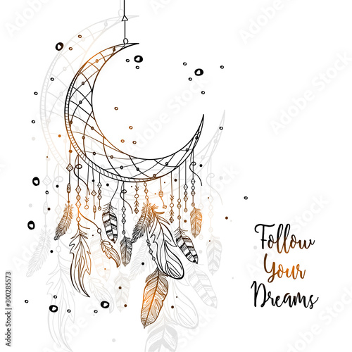 Photo sur Toile Style Boho Hand drawn Dream Catcher with Crescent Moon.