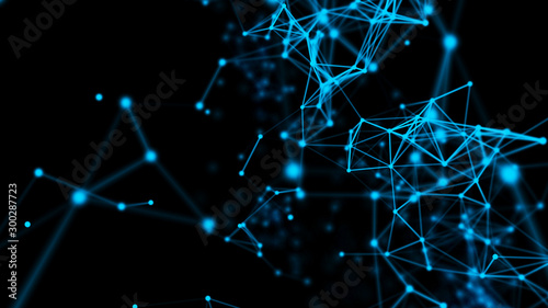 Abstract graphic design. Network connection background. 3d rendering. - 300287723