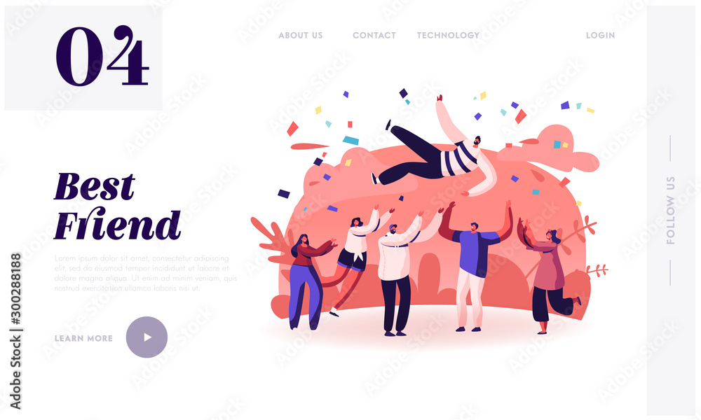 Fototapeta Friends Congratulation Website Landing Page. Young People Tossing Up in Air Man with Confetti Flying Around. People Celebrating Victory Achievement Web Page Banner. Cartoon Flat Vector Illustration
