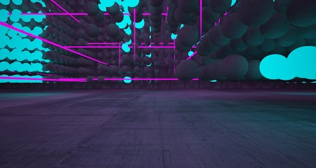Abstract architectural concrete smooth interior from an array of spheres with color gradient neon lighting. 3D illustration and rendering.
