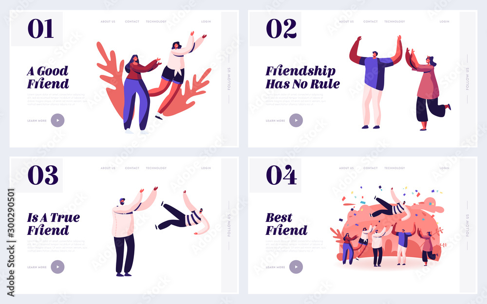 Fototapeta Friendship Human Relations, Happiness Website Landing Page Set. Happy People Good Friends Spending Time Together, Celebrate Party Toss Up Pal in Air Web Page Banner. Cartoon Flat Vector Illustration