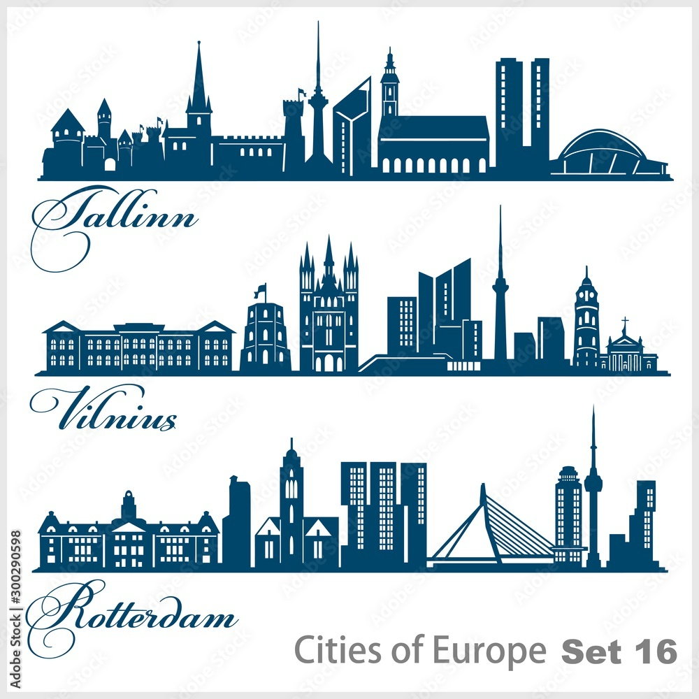 Fototapety, obrazy: City in Europe - Tallinn, Vilnius, Rotterdam. Detailed architecture. Trendy vector illustration.
