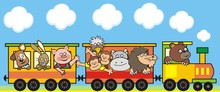 Group Of Animals In The Train, Funny Vector Illustration On Blue Background. Dog, Hare, Pig,  Monkeys, Osrich, Hippo, Lion And Bear At Steam Strain. Cute Icon For Children.