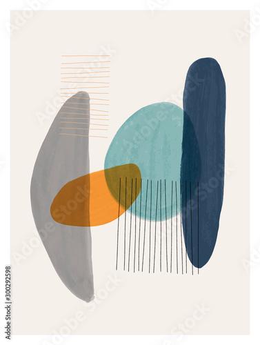 Carta da parati  Creative minimalist hand painted illustration for wall decoration, postcard or brochure design
