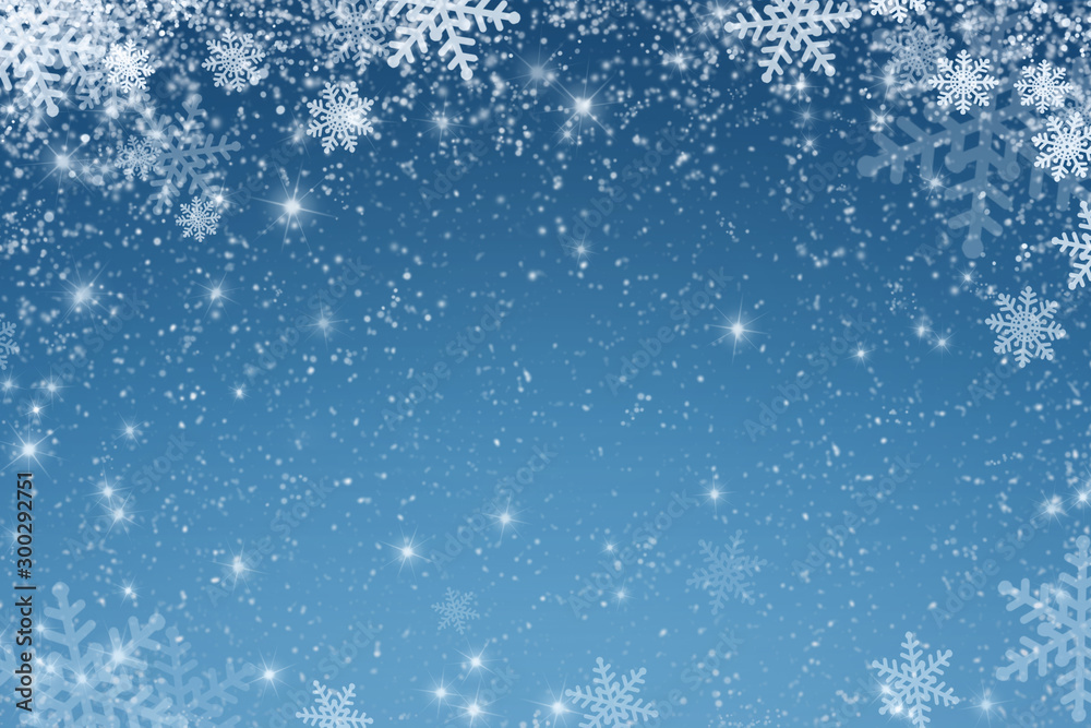 Fototapety, obrazy: Christmas art abstract background on blue.