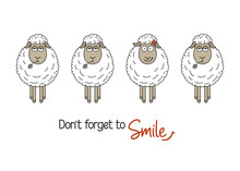 Cute Smiling Sheep Among Ordinary Ones. Smile And Be Happy, Be Yourself, Standing Out From Crowd Concepts