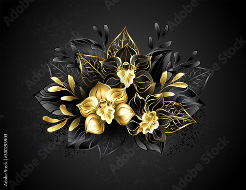Three jewelry orchids Fototapet