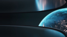 3D Rendering Of Planet Earth With Glowing Light From Cities And Atmosphere. Wide Angle View From Space Station With Large Curved Glass Window. Element Of This Image Furnished By NASA.