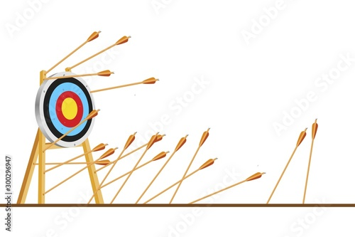 Many arrows missed hitting target mark Canvas Print