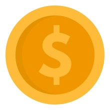 Dollar Money Coin Icon. Flat I...