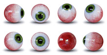 Set Of Human Eyeballs With Green Iris Isolated With Shadow On White Background