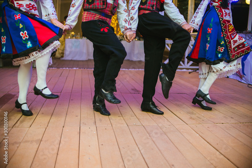 Stampa su Tela Bulgarian folklore dancers in traditional clothes