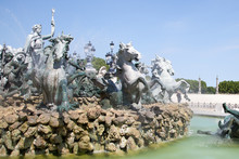 Bordeaux City Center Girondins Monument And Fountain In Gironde France