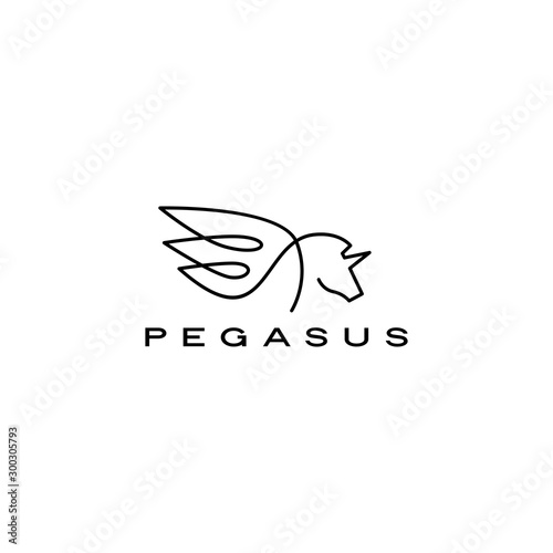 pegasus unicorn horse wing logo vector icon illustration Fototapeta