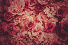 Artificial  Flowers Background In Vintage Color Tone