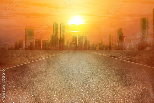 Heatwave on the city with the glowing sun background