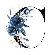 Floral Alphabet, Letter C With...