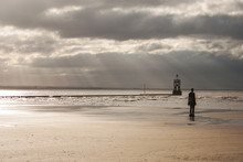 Crosby Beach In Liverpool, Wit...