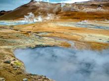Iceland. Tourists Walk Around ...