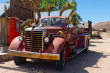 Rusty Old Fire Truck In Gold P...