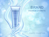 Aqua Moisturizing cosmetics ads template. Realistic cream container and water splash on blue background