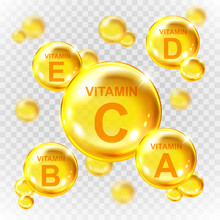 Vector Realistic Vitamin Golde...