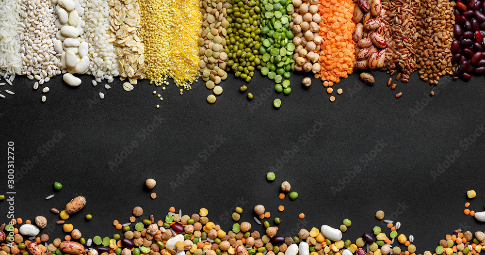 Fototapeta Dried Cereals and legumes colorful background