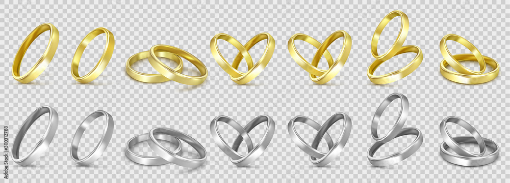 Fototapety, obrazy: vector gold and silver wedding rings isolated on white