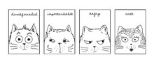 Cute Cat And His Emotions. Vec...