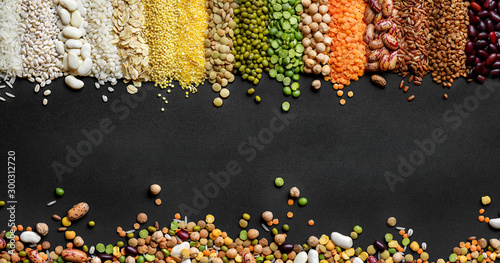 Dried Cereals and legumes colorful background - 300312720