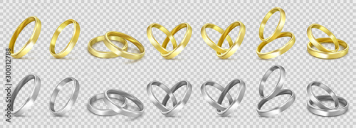 Fotomural  vector gold and silver wedding rings isolated on white