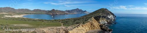 Panorámica de la playa de los genoveses en el cabo de Gata, Almería