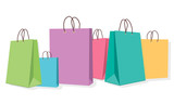 Fototapeta Dinusie - colorful shopping bags isolated on white background