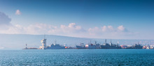 Sea Port Varna, Bulgaria And Beautiful Morning Landscape. Cargo Ships, Industrial Cranes And Navigation Tower