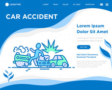 Car Accident Concept: Crashed ...