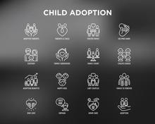 Child Adoption Thin Line Icons...
