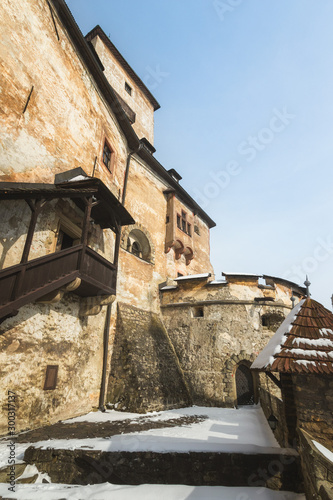 Платно View of the upper castle from inner bailey (courtyard) at Orava Castle, Oravsky