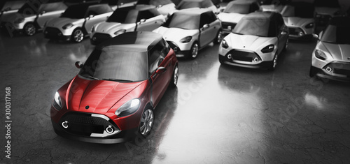 Fotobehang Motorfiets Small city cars fleet. A red car in front