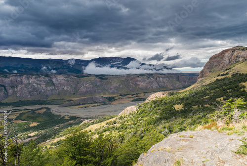 Andes mountains and river in the Valley in Argentina