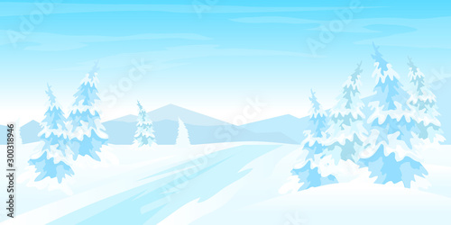 Printed kitchen splashbacks Light blue Winter rural landscape