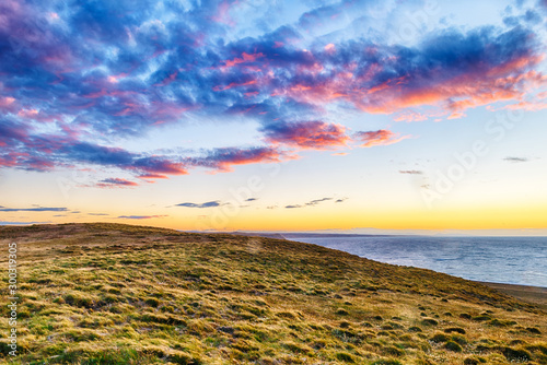 Sunset over pamaps shore in Tierra del Fuego