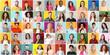 Leinwandbild Motiv Collage of photos with different people